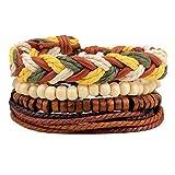 MJARTORIA Damen Armkette Hippie Armband Boho Wickelarmband Multifarben Geflochten Armreif Multilayer Freundschaftsarmband mit Quasten Perlenarmband 4 Stück (Geflochten)