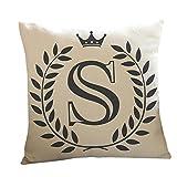 Kissenbezug 45 x 45 cm Brief A-Z Drucken Dekokissen Fall Sofa Home Decor Pillow Cover LuckyGirls (S)