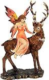 Wunderschöne große Elfenfigur Elfe sitzt auf Hirsch Figur Tiere Sommer
