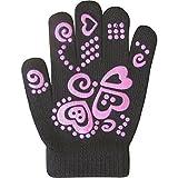 Guanti invernali di lana super morbidi da ragazza, impugnatura super elastica  Black Taglia unica