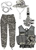 normani Army Combat Uniform Set bestehend aus at-Digital USMC Weste, ACU US Rangerhose, Boonie Hat und Handschellen Größe L