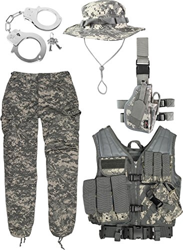 normani Army Combat Uniform Set bestehend aus AT-Digital USMC Weste, ACU US Rangerhose, Holster, Boonie Hat und Handschellen Größe L