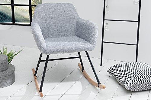 DuNord Design Schaukelstuhl Sessel Grau Schwingsessel Relaxstuhl Hellgrau Schwingstuhl JEGUM...