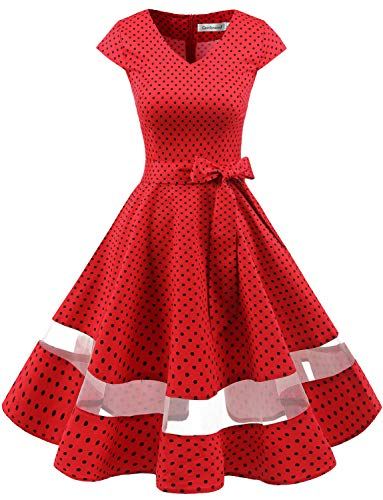 tage Retro Cocktailkleid Cap Sleeves Rockabilly Kleider Damen Schwingen Petticoat Faltenrock Red Small Black Dot L ()