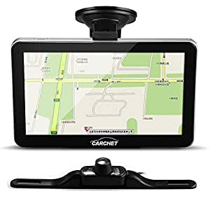 """CARCHET® 7"""" GPS Système Navi AV-IN + Caméra Vue Arrière Vision Nuit Transmetteur Sans Fil"""