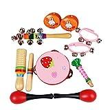 Mecotech Musikinstrumente Kinder, 10 Stück Holz Percussion Set Kinder Schlagzeug Spielzeuge Rhythmus Band Set für Kinder ab 3 Jahren (Rosa)