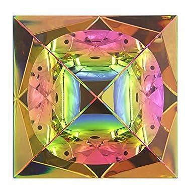 Sumnacon Kristallpyramide aus Glas, Farbe Regenbogenfarben und Eine schöne Box, für Fotos, Dekoration, Geschenk, Briefbeschwerer Etc. (100 mm)