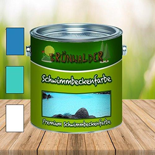 Grünwalder Schwimmbeckenfarbe premium Poolfarbe in Blau Weiß Grün ungiftige, wasserundichte Teichfarbe