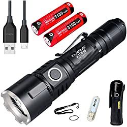 Klarus XT11GT Lampe de poche 2000 Lumens/ 316mètres CREE XPH35 HD E4 LED Rechargeable USB Lampe Torche, avec 2 * 3100 mAh Batterie Rechargeable