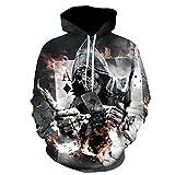 Skeleton Hoodie, Männer Zombie Schädel Hoody Unisex realistische 3D Digitaldruck Knochen Feuer Pullover Hoodie mit Kapuze Sweatshirt (XL, Grau)