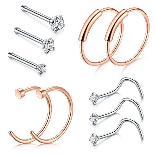 Zolure Nose Ring Hoop, 22G 8mm Rose Gold Silber Nasenring Piercings Hoop Nasenstecker Edelstahl 1.5mm 2mm 2.5mm (Nasen-ring Gold 22)