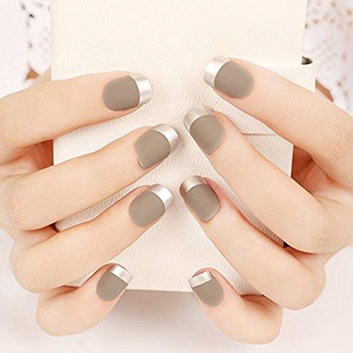 YUNAI Faux Ongles - Gris clair Style Français Nails Conseils Nail Art