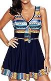 EUDOLAH Damen Paisley Muster Bunt Badeanzüge Figurformender Badekleid mit Röckchen Einteiler Badeshorts Marineblau Gr.3XL