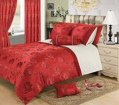 "66"" x 72"" Red Jacquard Eyelet Ringtop Curtains Fully Lined Ready Made- Panache"