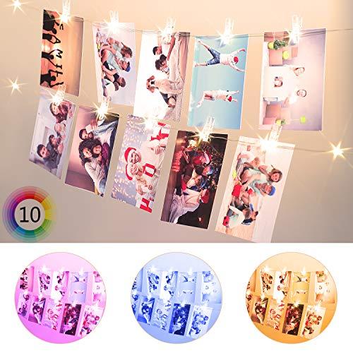 hterkette, 20 Klammern & LED, USB & Batteriebetrieben Foto Clips Fernbedienung String Light, für Karten Notizen Artwork, Zimmer Schlafzimmer Geburtstag Dekor,Geschenke des Mädchens ()