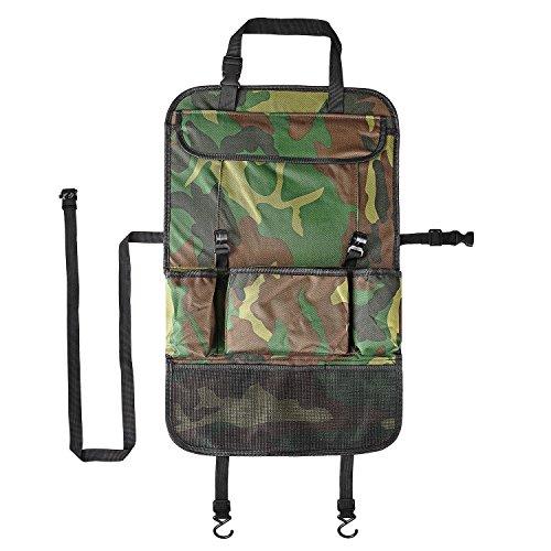 Rücksitzschutz für Auto,Plusinno(TM) Geräumiger Auto Rückenlehnenschutz,Rücksitz Organizer für Kinder,Reise-Utensilien und Spielzeug (Camouflage Grün)
