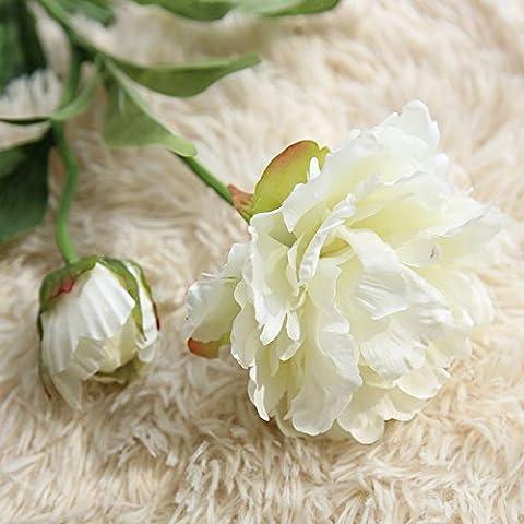 Zycshang une branche Pivoine Floral, avec Création romantique Tmosphere, Blanc Fleurs Artificielles Faux, convient pour bouquet de mariage fête Décoration de maison
