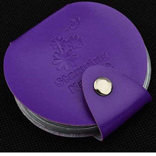 Vovotrade ❤❤ Organizer Bag Stamp Stamping Nail Art DIY Holder Modèle Image Plate Case_Voilet