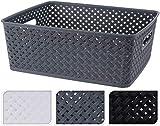 hibuy - Scatola portaoggetti in plastica (PP), effetto rattan, bianco, 35x29x13
