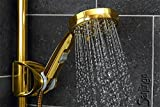 Duschkopf Gold Handbrause 5 Strahlarten + WASSER STOPP von Sanlingo