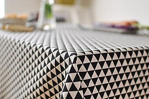 Série géométrique Triangle Motif Coton Nappe en lin pour salle à manger de cuisine Living Housse de table Déco, Coton, Triangle, 39.3x55In