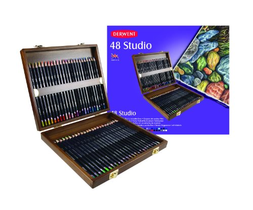 Derwent Studio Colouring Pencils, Set of 48 in a Wooden Gift Box, Professional Quality, 0700822