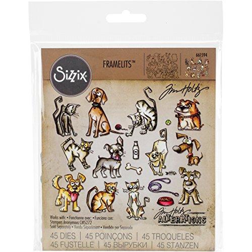 Sizzix Mini Crayz Cats and Dogs von Tim Holtz Framelits Stanzen Set, 45 in Packung, Stahl, Mehrfarbig, 19.1 x 14.4 x 0.4 cm