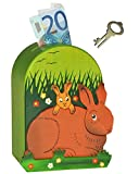 3-D Spardose - Hase aus Holz - mit Schlüssel - stabile Sparbüchse / Sparschwein für Kinder - Holzspardose Hasen - Mädchen & Jungen - Kinderspardose / bemalt