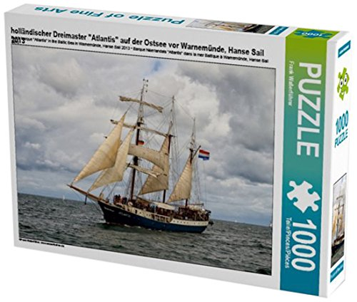 """Preisvergleich Produktbild holländischer Dreimaster""""Atlantis"""" auf der Ostsee vor Warnemünde,  Hanse Sail 2013 1000 Teile Puzzle Quer"""