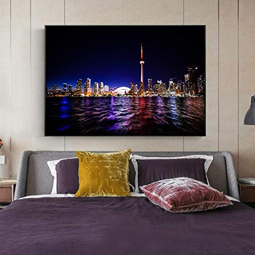 Geiqianjiumai Toronto Night View Living Room Mural Modern Landscape Painting Canvas Poster and Print...