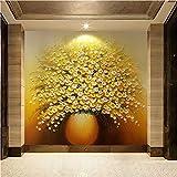 YShasaG Silk Wandbild Große Custom Wallpaper Wall Murals Gold Gelb Luxus 3D Ölgemälde Vase Eingang,500cm*280cm