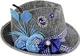 Home Collection Giochi Articoli per Feste Abbigliamento Accessori Uomo Cappello Tirolese Oktoberfest Blu con Piume Fiocco Fiore