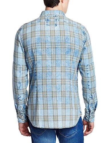 G-STAR RAW Herren Smoking Hemd Tacoma Shirt L Blau (Indigo/Dk Bronze Green Check 6555)