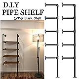 Offenes Wandregal, industrielles Retro-Design, Eisenrohre, für Bastler, ohne Bretter 5 Tier Ceiling Mount Pipe Shelves ( 2 Pcs ) Schwarz