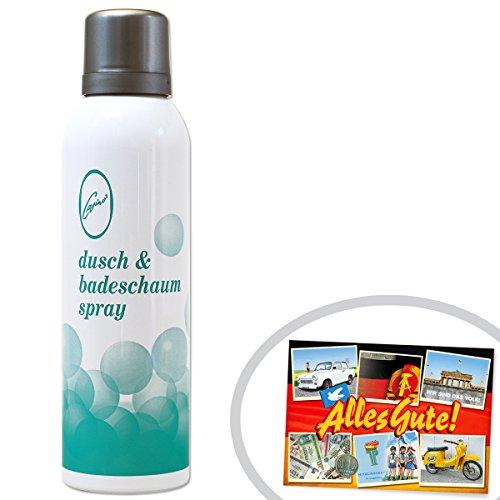 Dusch & Badeschaum Spray   INKL DDR Geschenkkarte   Ossi Produkte   Ideal für jedes DDR Geschenkset   DDR Traditionsprodukt und Ossi Kultprodukt   DDR Produkte