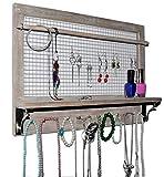 Spiretro Wandhalterung Jewelry Organizer Halter mit Haken Regal Stange Ohrringe Halsketten Armbänder Ringe Aufhängen Zubehör Wieder Rustikal Holz