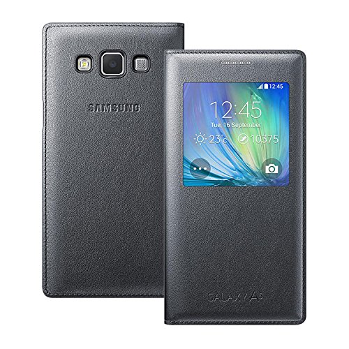 ikazen SView Window Leather Flip Case Cover for Samsung Galaxy A5 – Black (sensor working)