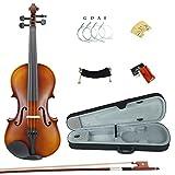Esound 1/4 MP0013 Tiger Streifen Massivholz Schüler Violine mit Hartschalenkoffer, Schulterstütze, Bogen, Kolophonium und Zusätzliche Saiten