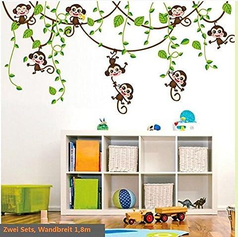 HALLOBO® Wandtattoo Affe Schaukel Affen Wandaufkleber Monkey Wandsticker Kinderzimmer Kinder Baby