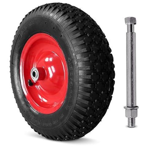 Schubkarrenrad luftbereift 4.80/4.00-8 390 mm - inkl. Achse Ø 390mm - 95mm Breite - 4 Gewebeeinlagen -