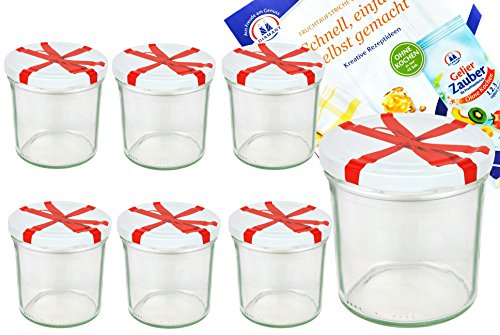 Set di 6 vasetti 350 ml, Diametro 82 mm, coperchio bianco con fiocco decorazione con diamante gelier Magic (Conserve Gift Box)