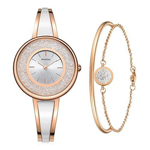 MAMONA Frauen Rosa-Gold-Ton Armreif und Armband-Set L3889RGGT