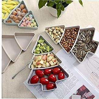 Angoter Árbol de Navidad Caja de Dulces Snacks Frutos Secos Semillas secas Frutas Placas de plástico Vajilla Cuchara Desayuno Bandeja de la Cocina casera Caja del Caramelo de Color al Azar