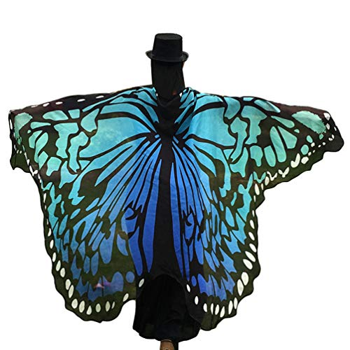 Kairunn Damen Erwachsene Schmetterlingsflügel Schals Nymph Pixie Poncho Karneval Schmetterling Kostüm Faschingkostüme Himmelblau 197 * 125cm