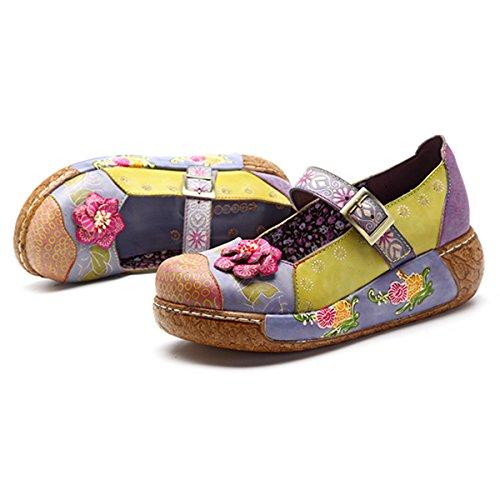 Socofy Damen Pantoletten, Sandalen Slip-Ons Sommer Leder Pantoffel Vintage Slipper Clogs High-Top Blume Espadrilles Schuhe Loafer Hausschuhe (41 EU, Lila-o)