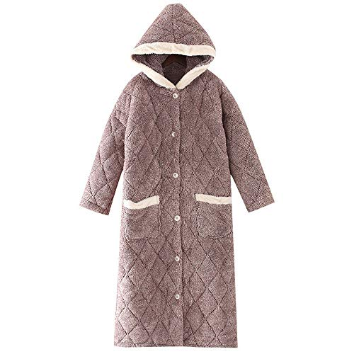 JSJYP Coral Fleece-Bademantel Damen, Long Thick Quilted Ladies Nachthemd, Flanell Herbst Und Winter 2019 New Pyjamas (Size : L)