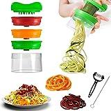 Spiralschneider, TelGoner 3-Klingen Gemüse Spiralschneider mit kostenloser Reinigungsbürste und Sparschäler, spiralschneider hand für gemüsespaghetti für Karotten, Zucchini