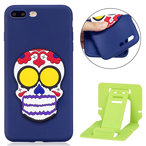 Custodia iphone 7 plus Cover, iphone 8 plus Cover Silicone, Custodia Morbido TPU Flexible Gomma per iphone 8 plus 5.5, Ekakashop Moda Ragazza Donne Funny Cute Pattern de Morbido Soft Silicone Bumper  Clown Skull