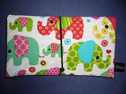 Tabaktasche/Drehertasche im blauem Elefanten-Design, jede Tasche ein Unikat! Elefant bunt/weiß