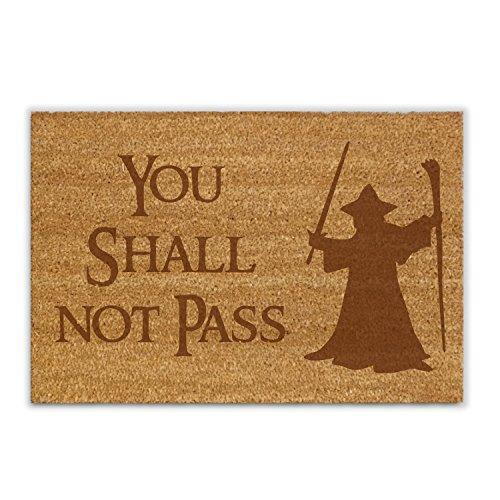 NERDO - You Shall Not Pass - Kokosfaser-Fußmatte/Fußabtreter/Schmutzfänger/Abstreifer/Vorleger als Geschenkidee zum Verschenken